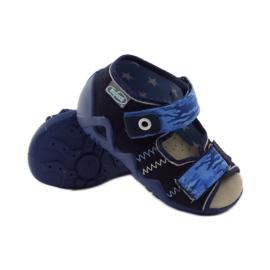 Sandals Befado 250p leather insert navy blue 3