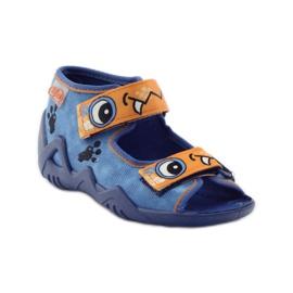 Blue slippers Velcro Befado 250p065 orange 1