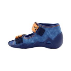 Blue slippers Velcro Befado 250p065 orange 2