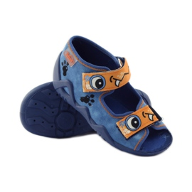 Blue slippers Velcro Befado 250p065 orange 3