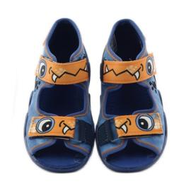Blue slippers Velcro Befado 250p065 orange 4