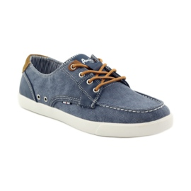 American Club American 205081 men's textile tied loafers navy blue 1