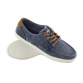 American Club American 205081 men's textile tied loafers navy blue 3