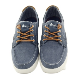 American Club American 205081 men's textile tied loafers navy blue 4
