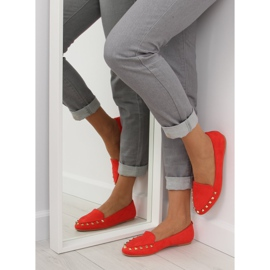 Women's loafers with studs red 1388 Red 3