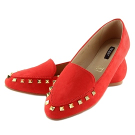 Women's loafers with studs red 1388 Red 4