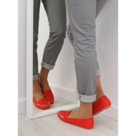 Women's loafers with studs red 1388 Red 1