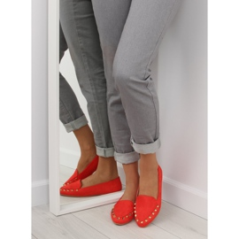 Women's loafers with studs red 1388 Red 2