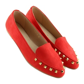 Women's loafers with studs red 1388 Red 5