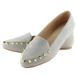 Women's moccasins with gray 1388 Gray studs grey 4