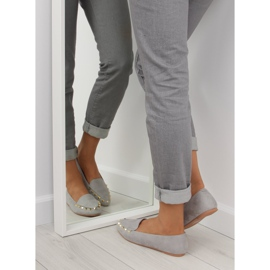 Women's moccasins with gray 1388 Gray studs grey 1