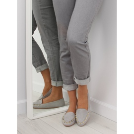 Women's moccasins with gray 1388 Gray studs grey 2