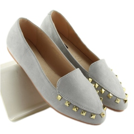 Women's moccasins with gray 1388 Gray studs grey 5