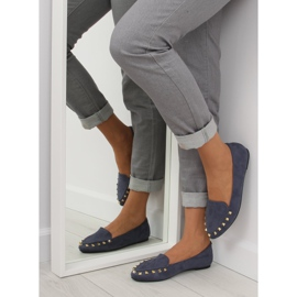 Women's moccasins with nails 1388 Navy 3