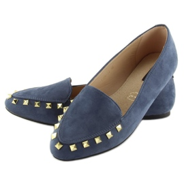 Women's moccasins with nails 1388 Navy 4