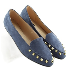 Women's moccasins with nails 1388 Navy 5