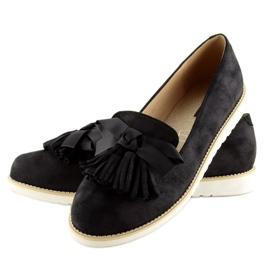 Women's loafers with tassels, black 7214 Black 5