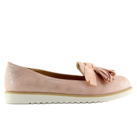 Women's loafers with pink fringes 7214 Pink 1