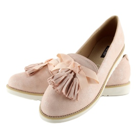 Women's loafers with pink fringes 7214 Pink 2