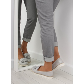 Women's loafers with gray gray tassels grey 4