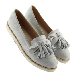 Women's loafers with gray gray tassels grey 3