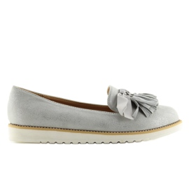 Women's loafers with gray gray tassels grey 1