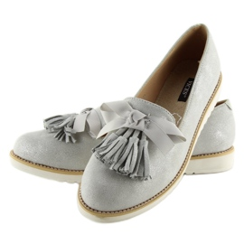 Women's loafers with gray gray tassels grey 2