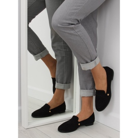Women's black moccasins T298 Black 1
