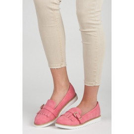 Vices Moccasins with an ornate buckle pink 1
