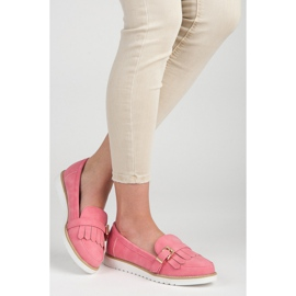 Vices Moccasins with an ornate buckle pink 2
