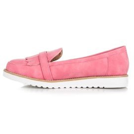 Vices Moccasins with an ornate buckle pink 3