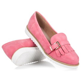 Vices Moccasins with an ornate buckle pink 4