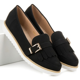 Vices Moccasins with a decorative buckle black 6