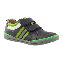 Shoes with a reflective element Bartuś green grey 1