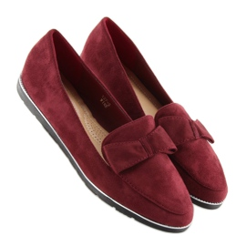 Loafers for women maroon 127-2 red 4