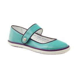 Ballerinas children's shoes Bartek 28368 turquoise green violet white 1