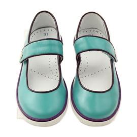 Ballerinas children's shoes Bartek 28368 turquoise green violet white 4
