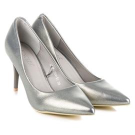 Vinceza Elegant pearly high heels grey 5