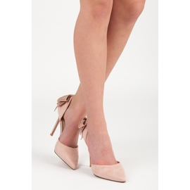 Seastar Suede heels with a bow pink 9