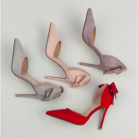 Seastar Suede heels with a bow pink 1