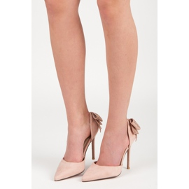 Seastar Suede heels with a bow pink 8