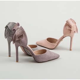Seastar Suede heels with a bow pink 2