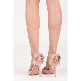 Seastar Suede heels with a bow pink 3