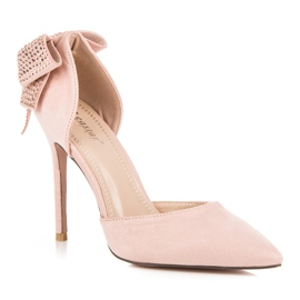Seastar Suede heels with a bow pink 4