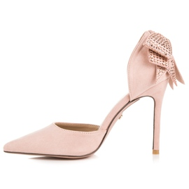 Seastar Suede heels with a bow pink 5