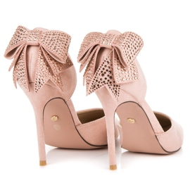 Seastar Suede heels with a bow pink 6