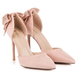 Seastar Suede heels with a bow pink 7