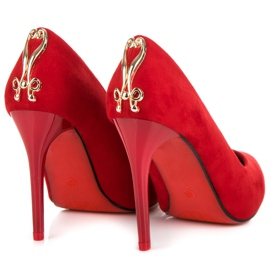 Seastar Suede heels with decoration red 5