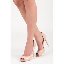 Seastar Lacquered open toe heels brown 1