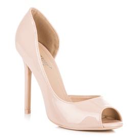 Seastar Lacquered open toe heels brown 2